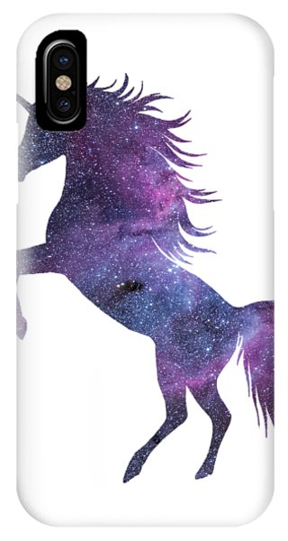 Mythological Creature iPhone Case - Unicorn In Space-transparent Background by Anna W