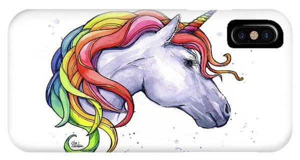 Unicorn iPhone Case - Unicorn With Rainbow Mane by Olga Shvartsur