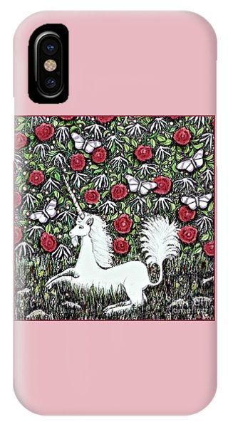 Unicorn With Red Roses And Butterflies IPhone Case