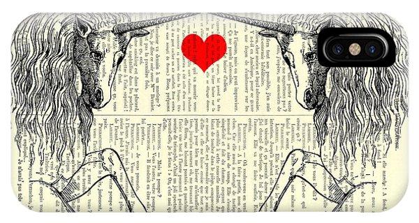 Myth iPhone Case - Unicorns Love by Madame Memento