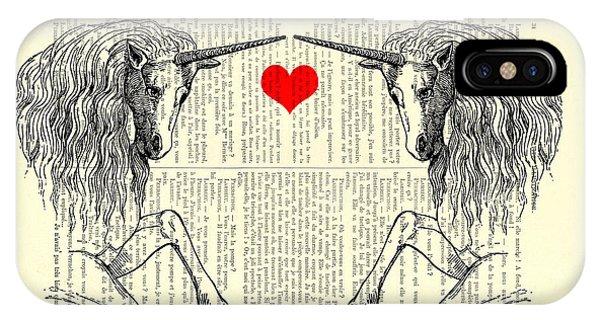 Mythological Creature iPhone Case - Unicorns Love by Madame Memento