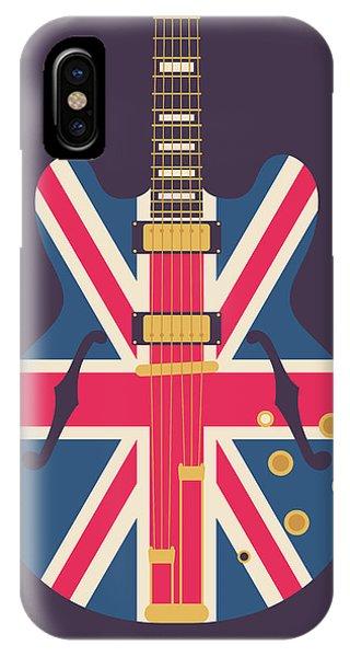 Jack iPhone Case - Union Jack Guitar - Original Black by Ivan Krpan