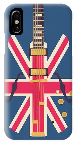 Jack iPhone Case - Union Jack Guitar - Original Blue by Ivan Krpan