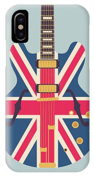 Jack iPhone Case - Union Jack Guitar - Original Grey by Ivan Krpan