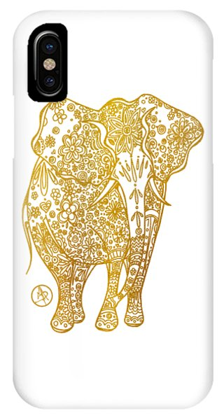 Unique Golden Elephant Art Drawing By Megan Duncanson IPhone Case