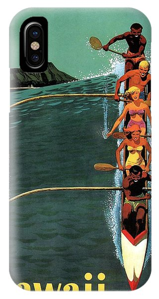 Advertising iPhone Case - United Air Lines To Hawaii - Riding With Outrigger - Retro Travel Poster - Vintage Poster by Studio Grafiikka