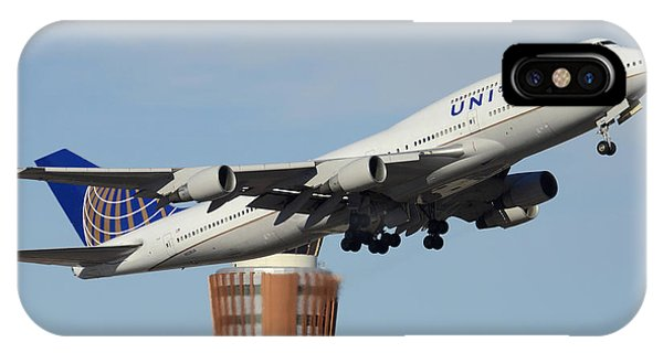 United Boeing 747-422 N128ua Phoenix Sky Harbor January 2 2015 IPhone Case
