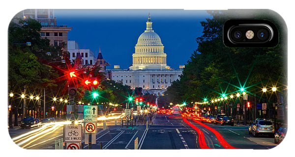 United States Capitol Along Pennsylvania Avenue In Washington, D.c.   IPhone Case