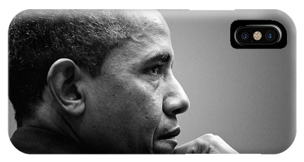 Barack Obama iPhone Case - United States President Barack Obama Bw by Celestial Images