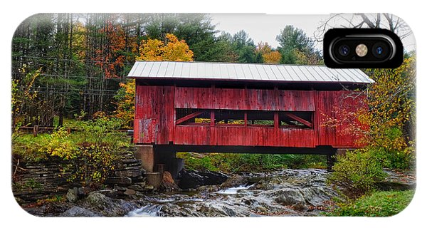 Upper Cox Brook Covered Bridge In Northfield Vermont IPhone Case