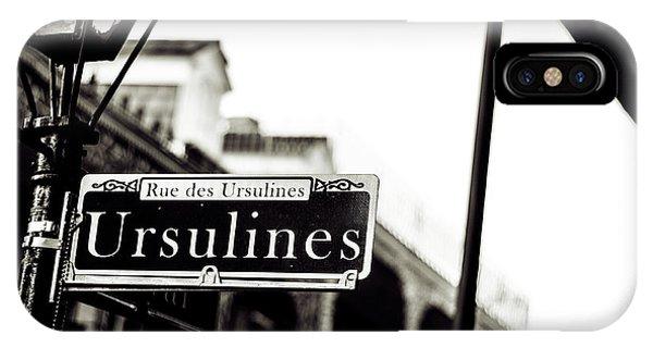 Ursulines In Monotone, New Orleans, Louisiana IPhone Case