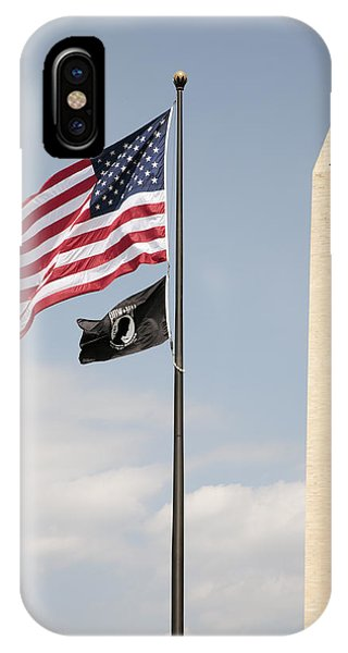iPhone Case - Us And Pow-mia Flags Fly In Washington Dc by William Kuta