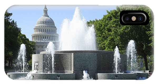 iPhone Case - Us Capitol And Fountain In Washington Dc by William Kuta