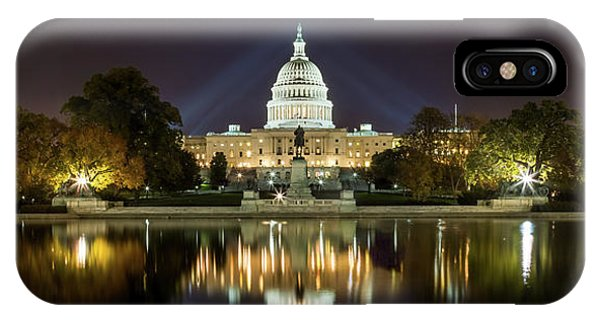 Us Capitol Night Panorama IPhone Case