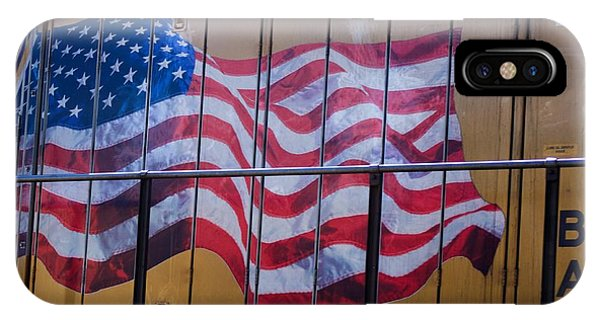 Us Flag On Side Of Freight Engine IPhone Case
