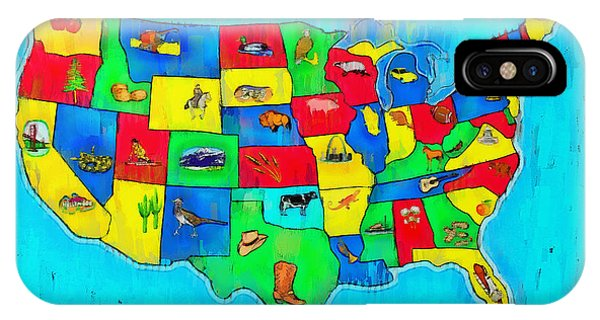 Us Map With Theme  - Free Style -  - Da IPhone Case