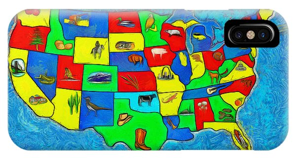 Capitalism iPhone Case - Us Map With Theme  - Van Gogh Style -  - Da by Leonardo Digenio
