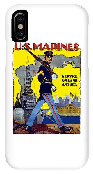 Political iPhone Case - U.s. Marines - Service On Land And Sea by War Is Hell Store