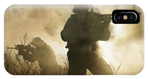 Sharpshooter iPhone Case - U.s. Navy Seals During A Combat Scene by Tom Weber