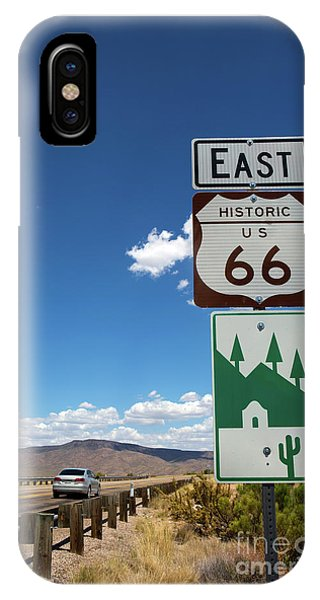 IPhone Case featuring the photograph Us Route 66 Sign Arizona by Steven Frame