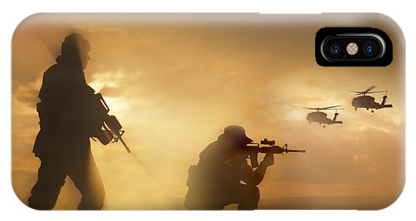 Helicopter iPhone X Case - U.s. Special Forces Provide Security by Tom Weber