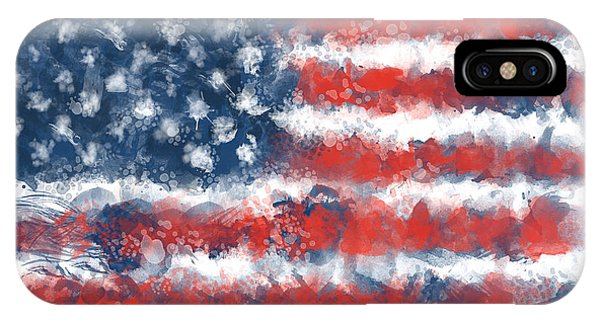July 4 iPhone Case - Usa Flag Brush Strokes by Bekim Art