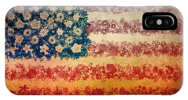 July 4 iPhone Case - Usa Flag Floral 4 by Bekim Art