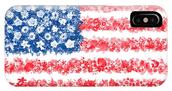 July 4 iPhone Case - Usa Flag Floral by Bekim Art