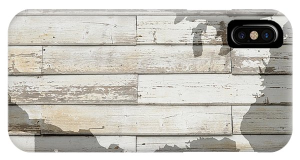 Usa Map Of America Outline On White Barn Wood Planks IPhone Case