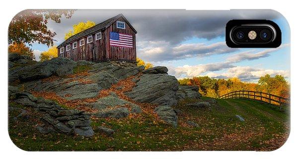 Roxbury iPhone Case - Usa Patriotic Rustic Barn by Susan Candelario
