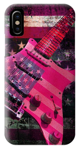 IPhone Case featuring the photograph Usa Pink Strat Guitar Music by Guitar Wacky