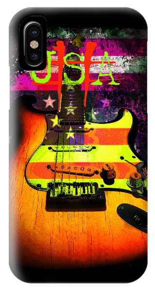 IPhone Case featuring the photograph Usa Strat Guitar Music by Guitar Wacky