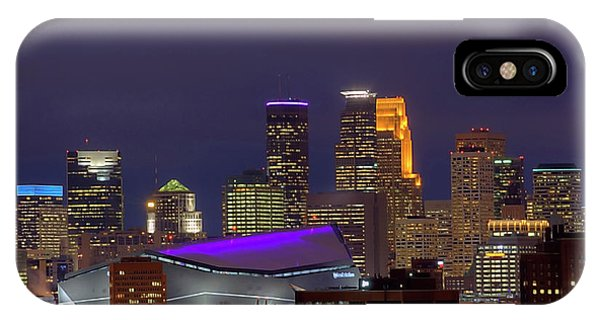 Downtown iPhone Case - Usbank Stadium Dressed In Purple by Wayne Moran