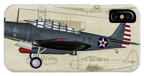 Uss Hornet iPhone Case - Usn Devastator - Profile Art by Tommy Anderson