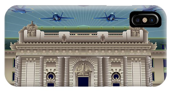 Naval Academy iPhone Case - Usna Bancroft Hall Blue Angels Show by Joe Barsin