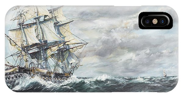 Uss Constitution Heads For Hm Frigate Guerriere IPhone Case