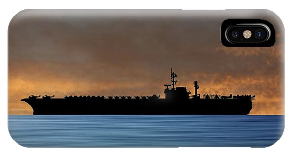 Hawk iPhone Case - Uss Kitty Hawk 1955 V3 by Smart Aviation