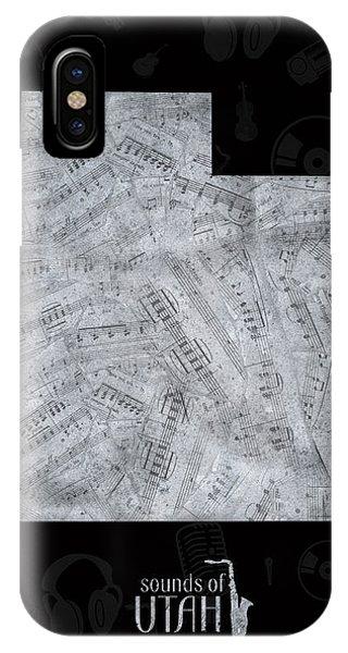 Utah Map Music Notes 2 IPhone Case