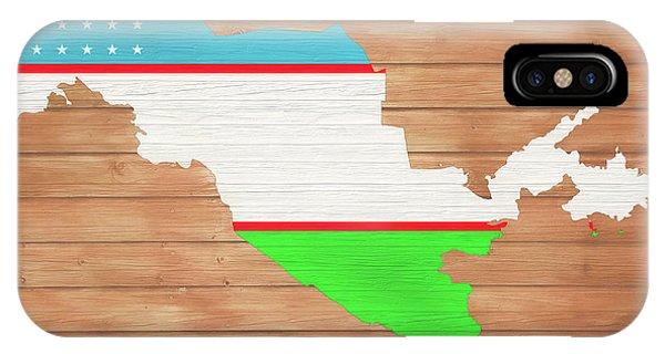 Traveler iPhone Case - Uzbekistan Rustic Map On Wood by Dan Sproul