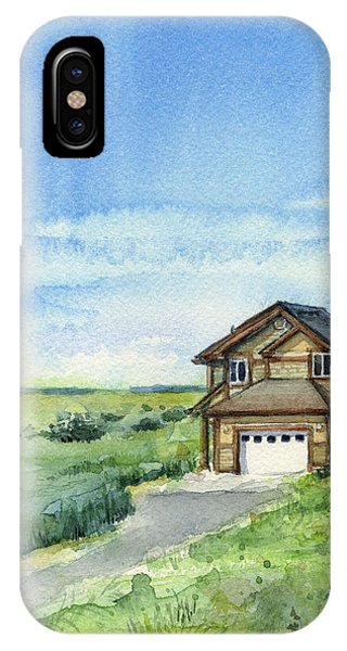 Dunes iPhone Case - Vacation House In A Field - Watercolor - Long Beach, Wa by Olga Shvartsur