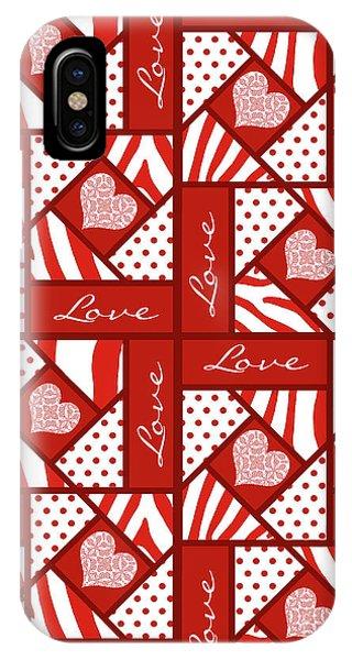 Valentine 4 Square Quilt Block IPhone Case