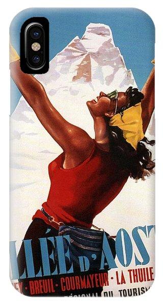 Advertising iPhone Case - Vallee D'aoste - Aosta Valley, Italy - Retro Travel Poster - Vintage Poster by Studio Grafiikka