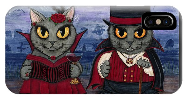 Vampire Cat Couple IPhone Case