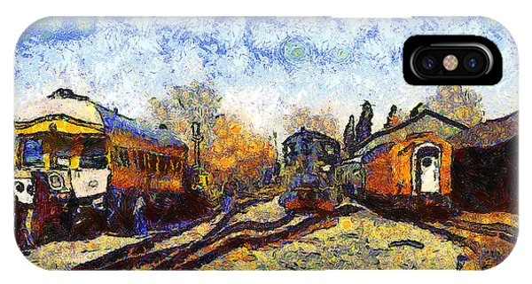 Van Gogh.s Train Station 7d11513 IPhone Case