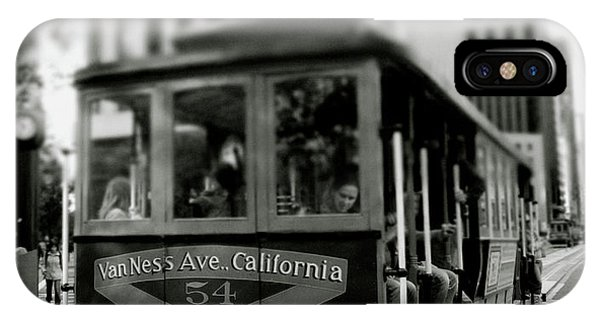 Trolley Car iPhone Case - Van Ness And Market Cable Car- By Linda Woods by Linda Woods