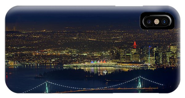 Vancouver Bc Cityscape By Lions Gate Bridge IPhone Case