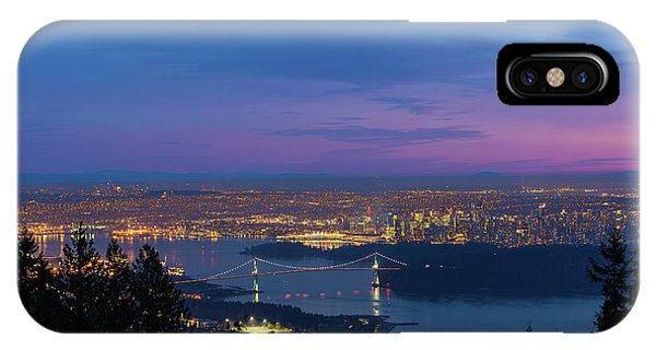 Vancouver Bc Cityscape Lions Gate Bridge Sunset IPhone Case