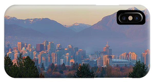 Vancouver Bc Downtown Cityscape At Sunset Panorama IPhone Case