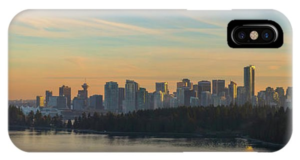 Vancouver Bc Skyline Along Stanley Park At Sunset IPhone Case