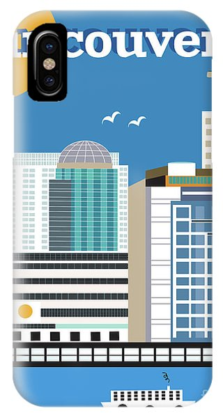 Vancouver City iPhone Case - Vancouver British Columbia Canada Vertical Skyline by Karen Young